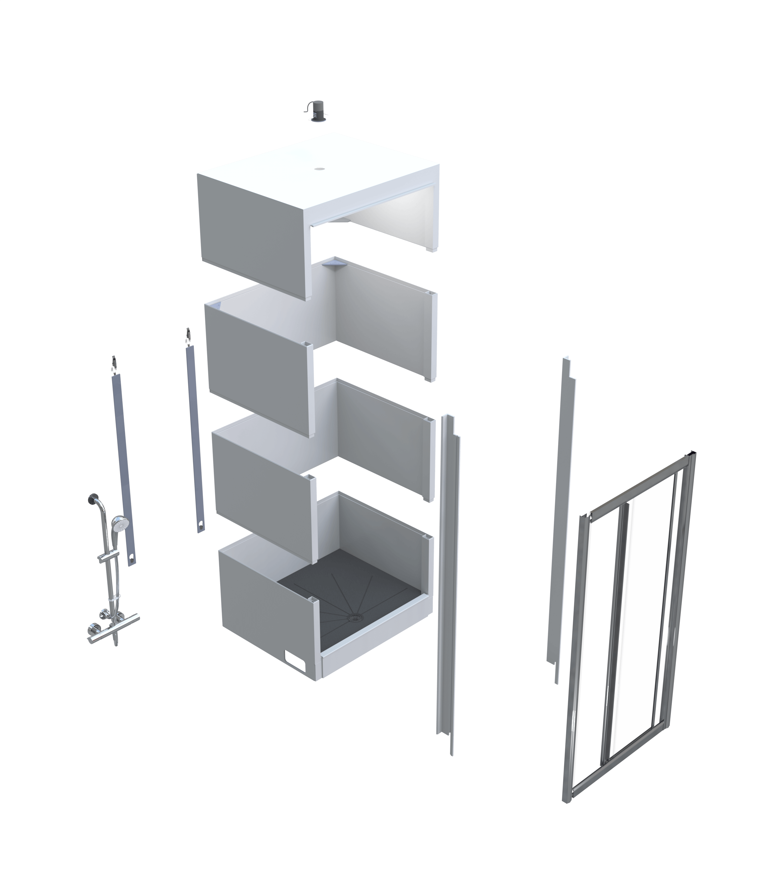 Shower Cubicle_Rectangular_Prima Exploded view